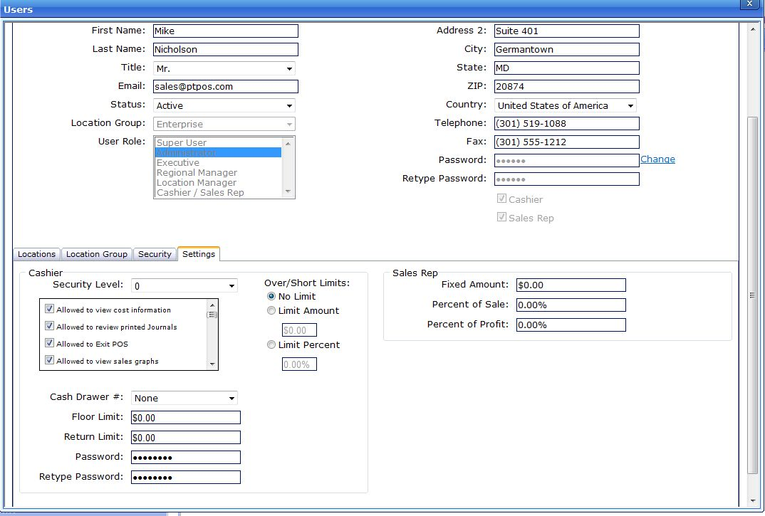 OpSuite POS User Setup screen image