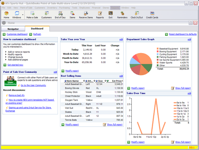 QuickBooks POS Dashboard Screen Shot
