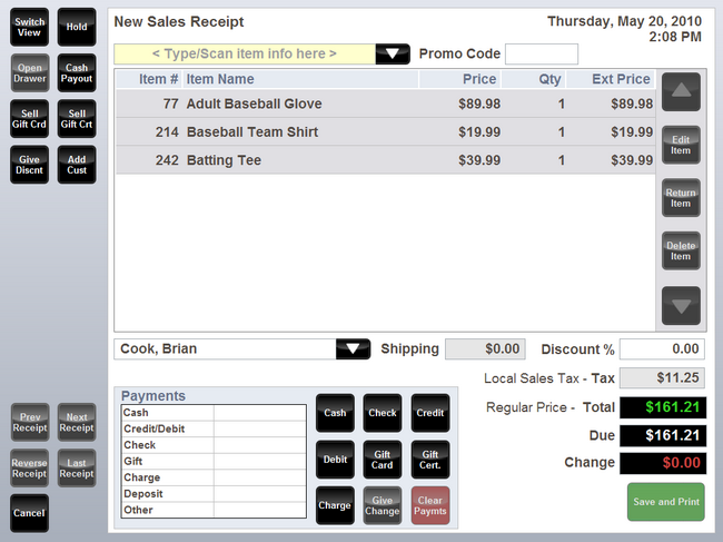 QuickBooks POS Quick Entry Sales Screen
